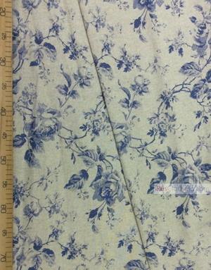Tissu lin fleuri ''Blue roses on gray''