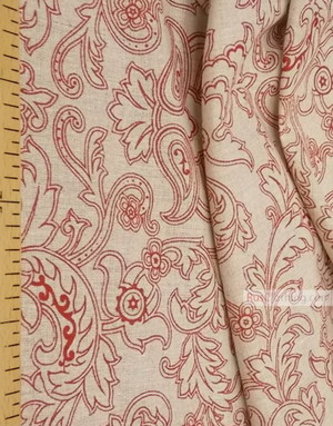 Tissu lin de Russie ''Red And Burgundy Patterns On gray''