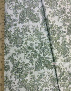 Tissu lin imprimé ''Eastern Cucumbers, Green On White''