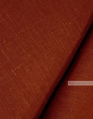 Linen fabric from Russia ''Dark Red-Orange ''