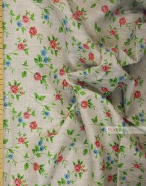 Tissu lin fleuri ''Roses on gray''