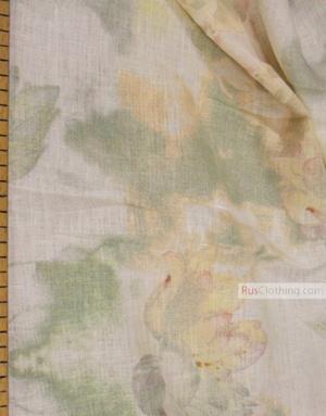 Tissu lin fleuri ''Lilies on white''