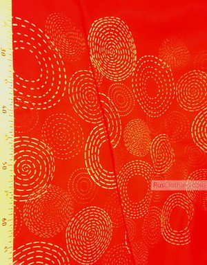 Linen fabric from Russia ''Sun circles on red ''