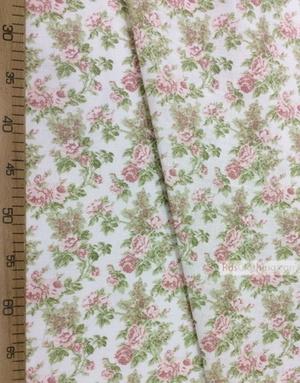 Tissu lin fleuri ''Roses of Provence''