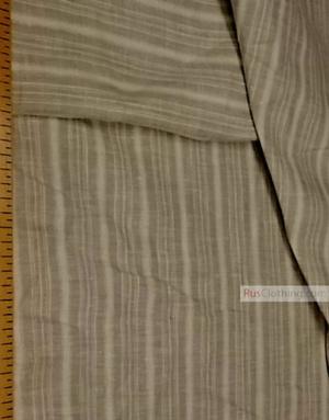 Tissu lin de Russie ''Gray-white strip''