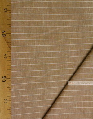 Linen fabric from Russia ''White stripe on coffee ''