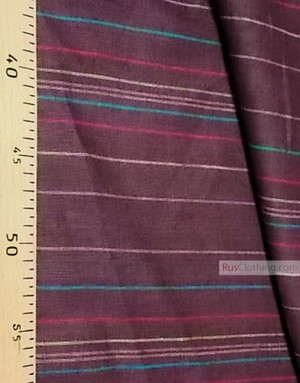 Tissu lin de Russie ''Сolorful stripes on a brown''