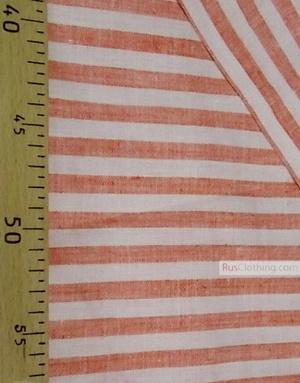 Tissu lin de Russie ''White-red strips''