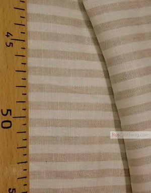 Linen fabric from Russia ''White-beige strips ''