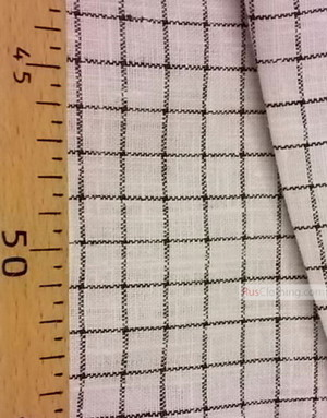 Linen fabric from Russia ''Black plaid on white ''