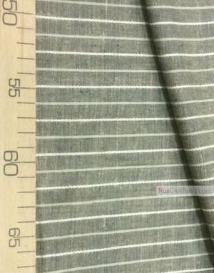 Tissu lin de Russie ''White stripes on tobacco-green''