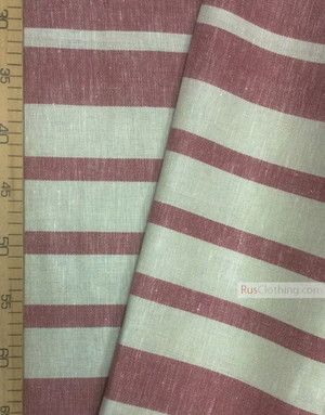 Linen fabric from Russia ''Red strips ''