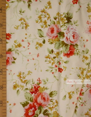 Floral cotton fabric by the yard ''Large Red Flowers On A Light Cream Field''}