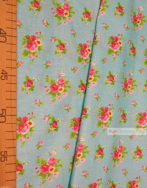 Floral cotton fabric by the yard ''A Bouquet Of Roses On Mint''}