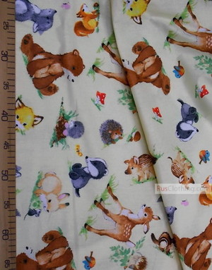 Tissu enfant au metre ''Animals On A Sunny Meadow''}