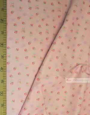 Tissu coton fleuri au metre ''Pink Roses On Pink''}