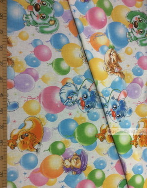 Kids Fabric by the Yard ''Cartoons On Balloons''}