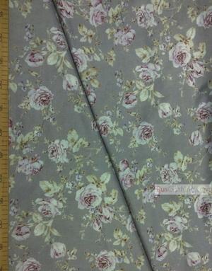 Tissu coton fleuri au metre ''Light Purple Rose On Gray''}