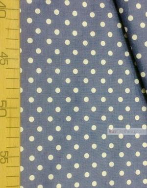 Tissu vintage au metre ''Small White Polka Dots On Indigo''}