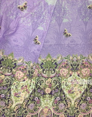 Tissu ethnique au metre ''Lilac Flowers With Butterflies''}