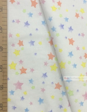 Tissu enfant au metre ''Colored Unicorn Stars''}