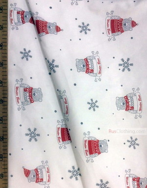 Baby fabric by the Yard ''Bear In Winter''}