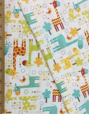 Baby Quilt Fabric by the Yard ''Colored Giraffes On A White''}
