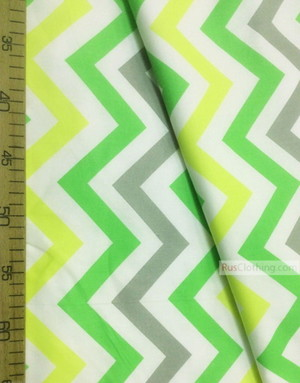 Tissu enfant au metre ''Color Zigzag On White (Yellow, Green, Gray)''}
