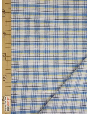 Linen fabric from Russia ''Blue-blue cell on white ''