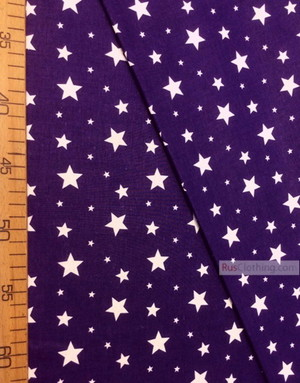 Tissu enfant au metre ''White Stars On Deep Purple''}