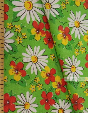 Floral cotton fabric by the yard ''Daisies On Salad''}