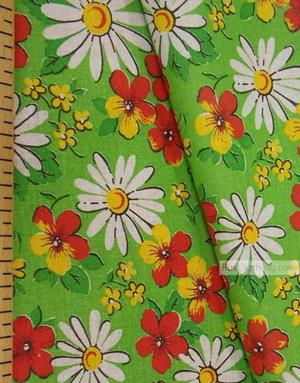 Tissu coton fleuri au metre ''Daisies On Salad''}