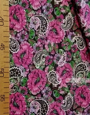 Floral cotton fabric by the yard ''Pink Carnations On Black''}