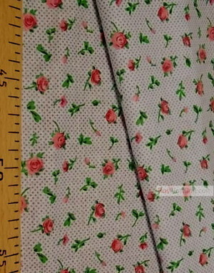 Floral cotton fabric by the yard ''Roses On White With Mustard Dot''}