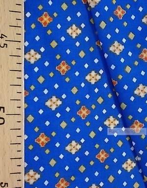 Tissu géométrique au metre''Yellow-Orange Diamond On Blue''}