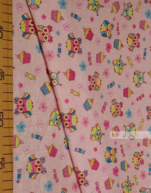 Baby Quilt Fabric by the Yard Ткань, ситец ''Owlets On Pink''}