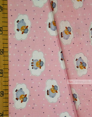 Nursery Print Fabric by the Yard''Gray Sheep And Clouds On Pink''}