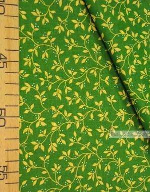 Tissu vintage folklorique au metre ''Yellow Leaves On Green''}