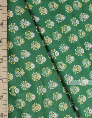 Folk Fabric by the yard ''Ornament Thistle On Green ''}