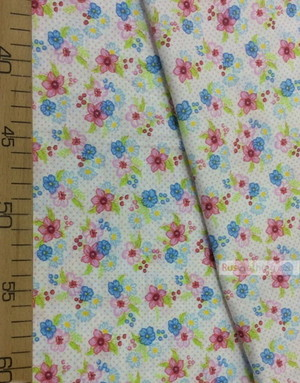 Floral cotton fabric by the yard ''Flowers On White''}