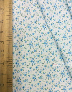 Floral cotton fabric by the yard ''Small, Blue Flowers On White''}