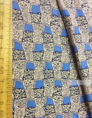 Tissu géométrique au metre ''Pattern In A Square, Blue''}