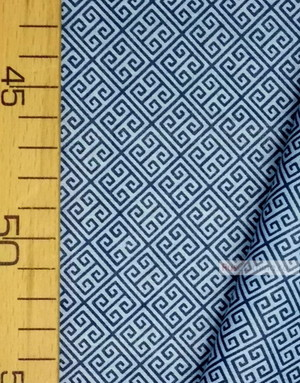Geometric Print Fabric  ''Labyrinth, Blue On Blue''}
