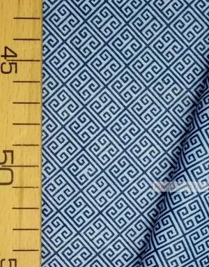 Geometric Print Fabric ''Labyrinth, Blue On Blue''}