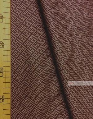 Geometric Print Fabric ''Labyrinth, Brown On Coffee''}