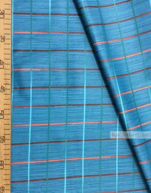 Tissu géométrique au metre ''Cage On Turquoise''}