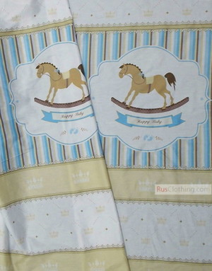 Kids Fabric by the Yard ''Horse With Beige Crowns On White''}