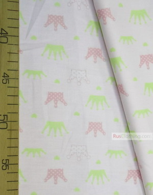 Childrens Fabric by the Yard ''Crowns With Hearts On Milk''}