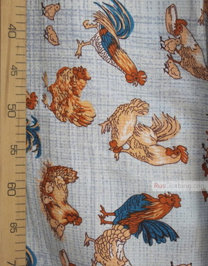 Tissu coton gaufré au metre ''The Poultry Yard On The Blue''}