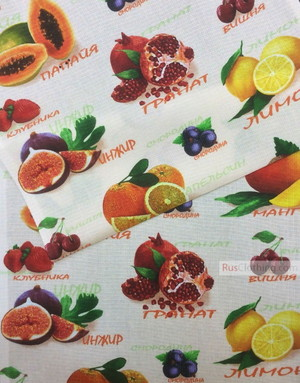 Waffle Weave Fabric by the yard ''Fruits''}